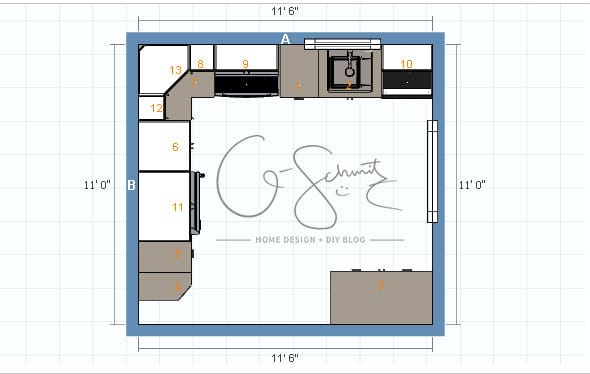 Potential kitchen floor plan options madness method when renovating a kitchen yourself its always best to plan out a few floor plans solutioingenieria Images