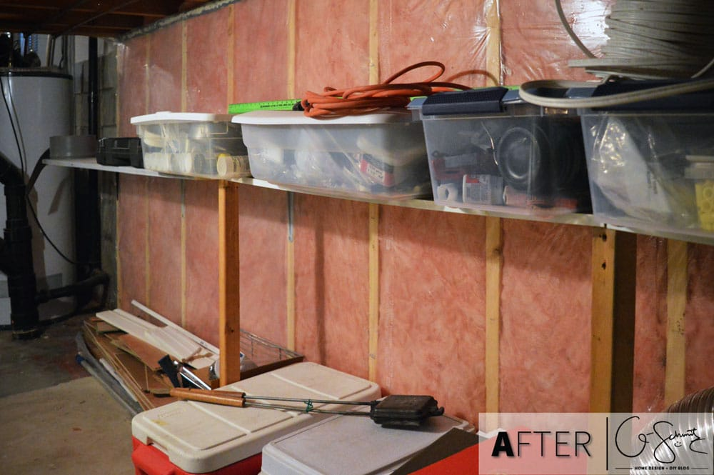 Clearing up and cleaning out the basement crawlspace. This Q-Schmitz Blog post has before and after images showing how we organized and tidied up our basement crawlspace.