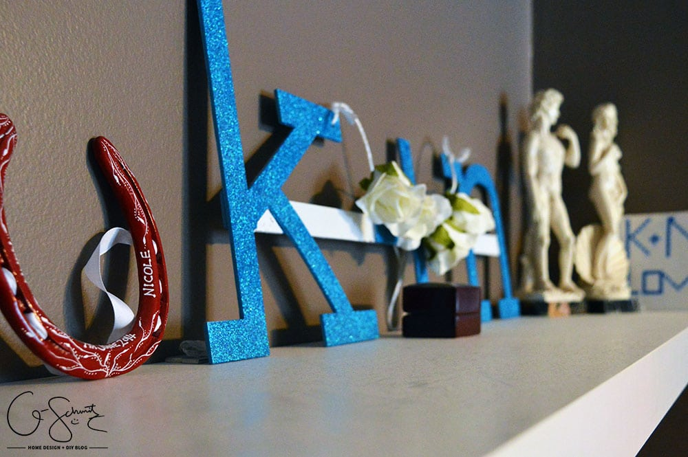 We took our wedding logo and all our wedding gifts and mementos - and created a designated space in the master bedroom for our wedding day memories.