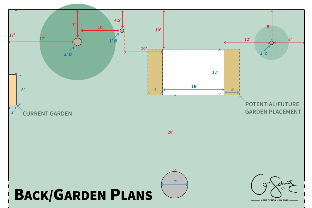 I'm back again with a post on our potential yard updates; and this time, I'll be tackling my plans for our vegetable gardens and backyard configuration - (hint: where I plan on putting our soon to be DIY raised garden beds)