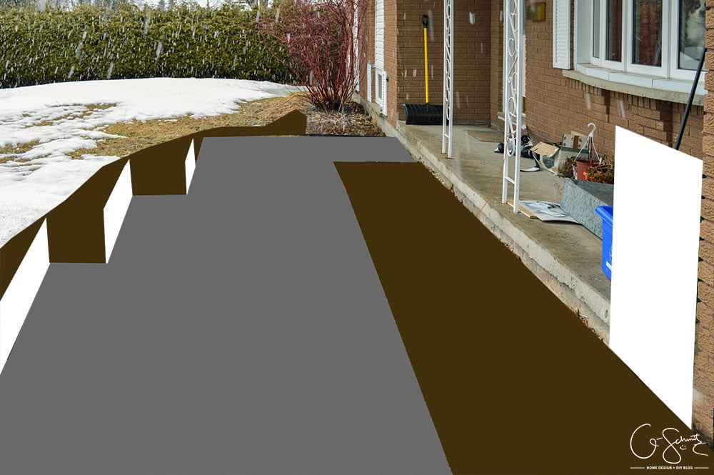 Some winter pictures of our current front walkway and the floor plan of how it looks now (and how I plan to DIY the walkway as well!)