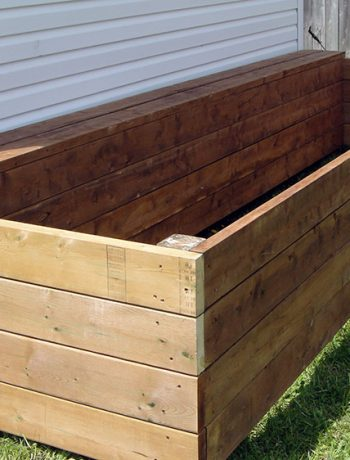 Looking for a DIY build project to kick-start your summer gardening? Here are some easy to follow instructions for building a raised garden bed along a shed (or fence, or whatever!) that you can easily adapt to your space.