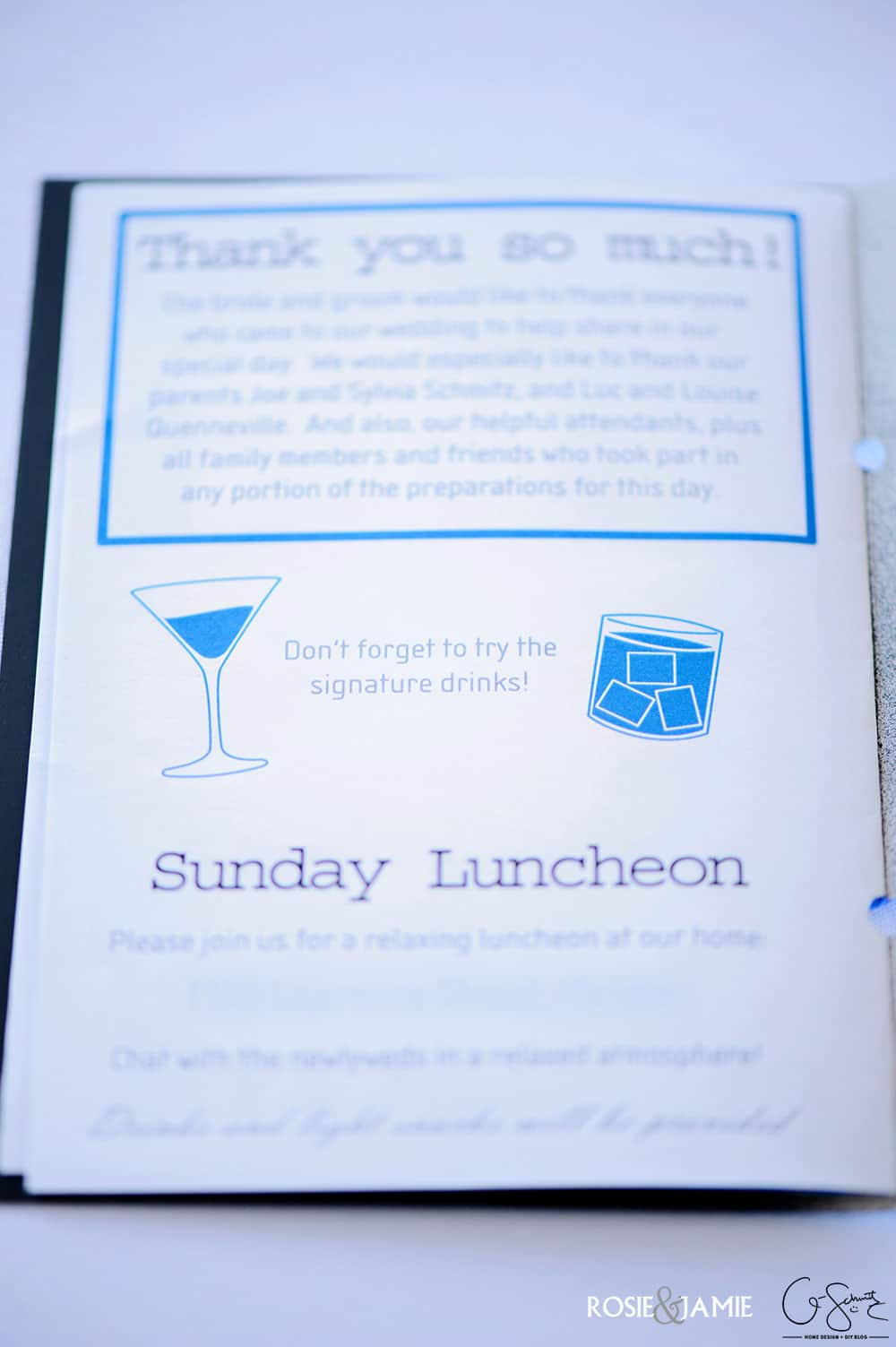 The DIY wedding programs were a lovely addition to our wedding, and matched our wedding branding perfectly. But I'll let you in on a little secret... I actually recycled/re-purposed our wedding invitations to use for the wedding programs!