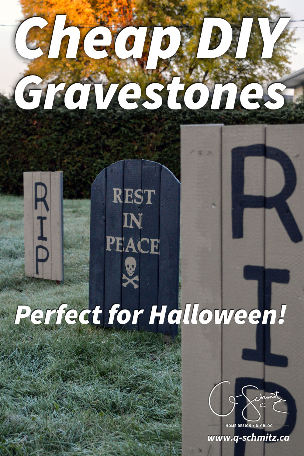 Here is my handy tutorial on how to make easy, cheap DIY gravestones that are perfect for Halloween! Would you believe me if I told you I made these for free?