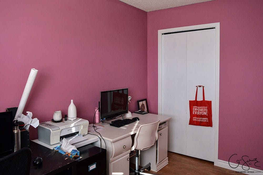"As soon as we moved into our house we painted all the rooms. For this room, I mixed a bunch of paint I already had to create the perfect ""muted pepto-pink"", check it out in The Pink Room!"