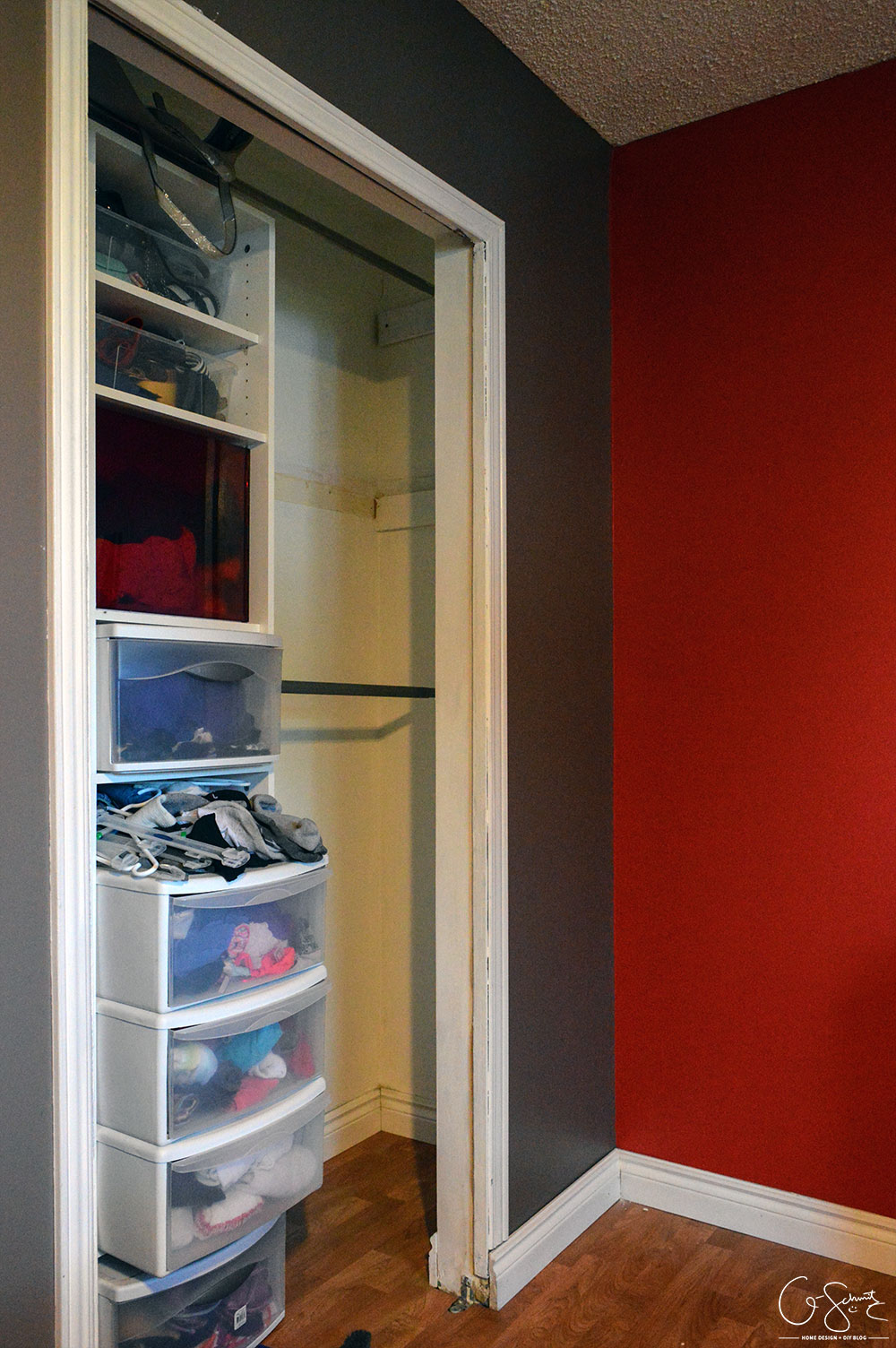 Renovating a master closet is a great way to get your creative juices flowing. Not having to tackle plumbing and electrical OR having to deal with structural walls makes this an easy DIY project!