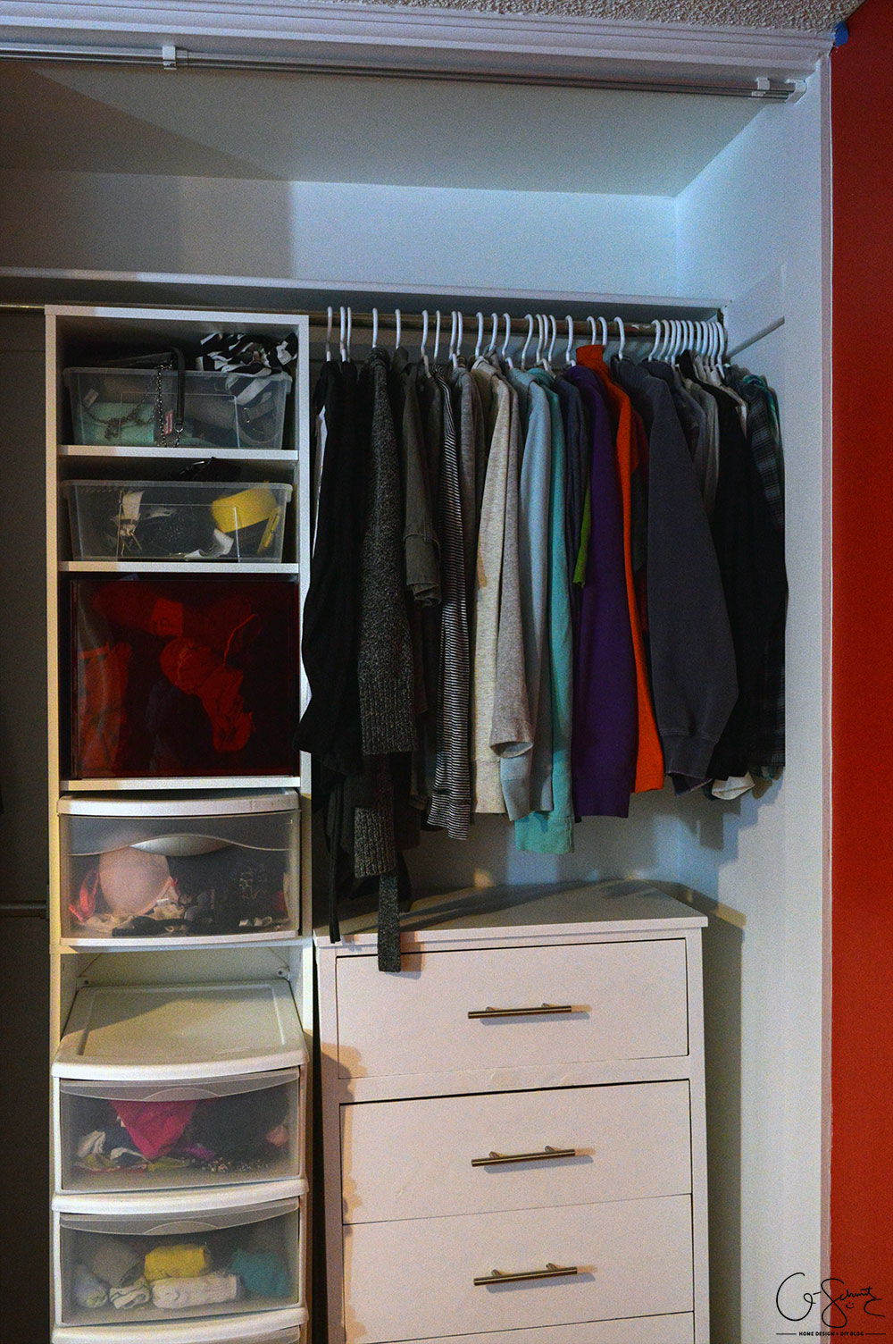 The master closet renovation final reveal shows how we were able to remove the small walls and open up a plain closet - adding more space and organization
