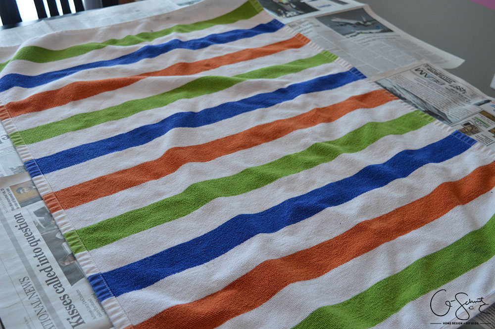 I have a simple project to share with you to update any fabric. I chose painting an Ikea rug, which is pretty quick and easy (seriously, anyone can do it!).