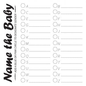 Download the 12x12 Name the Baby Printable