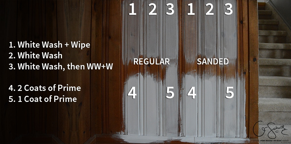 I then did another coat of the whitewashing once the first one was dry; and  I made a handy chart to show the difference between all the options. - Painting Vs. Whitewashing Panelling (and Brick!) Madness & Method