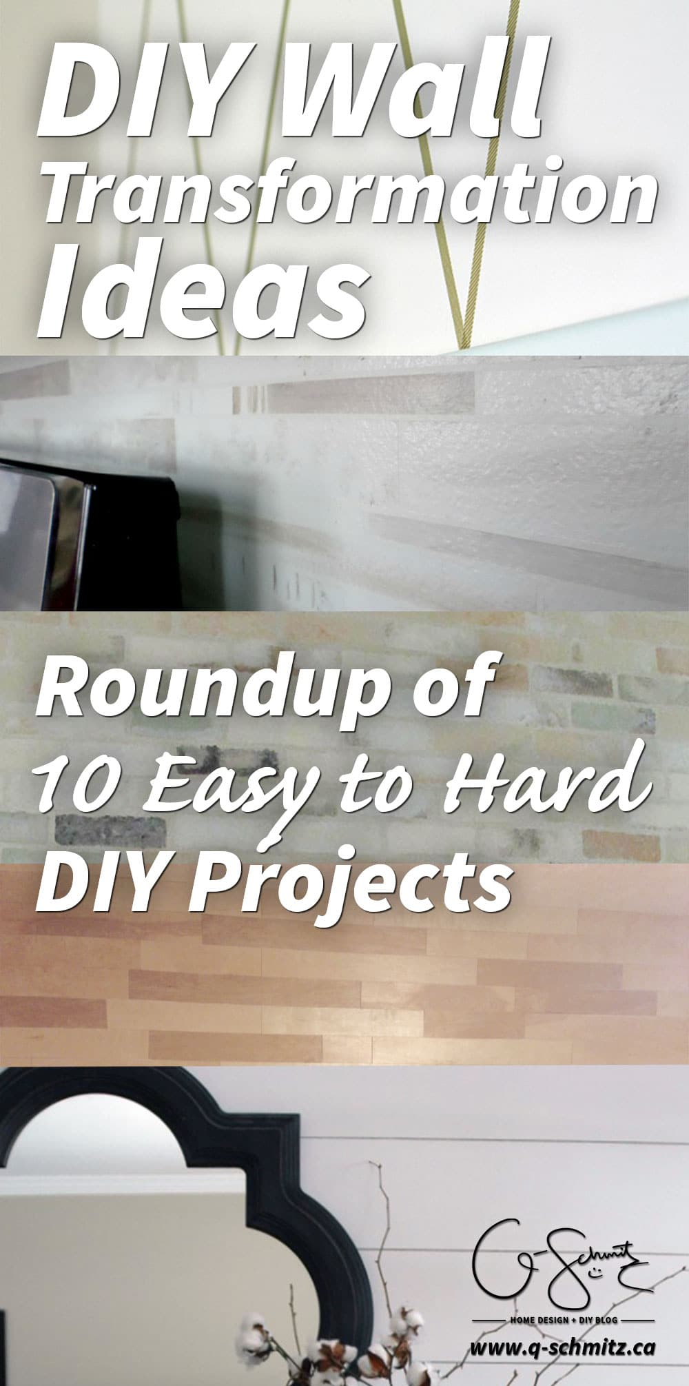 Today I'm rounding up some DIY wall transformation ideas, starting from  easier,