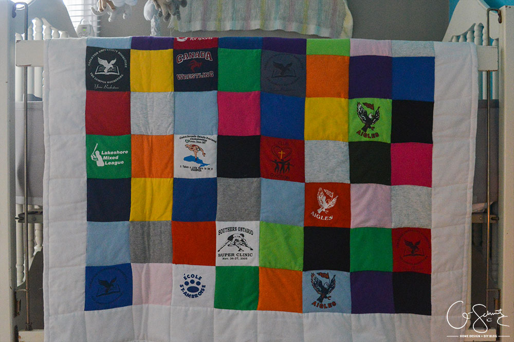 If you're someone like me that's held on to some old t-shirts and wanted to put them to good use, then you can certainly use this idea! Check out how I was able to repurpose years' worth of (mostly) free clothing to create a custom t-shirt baby quilt.