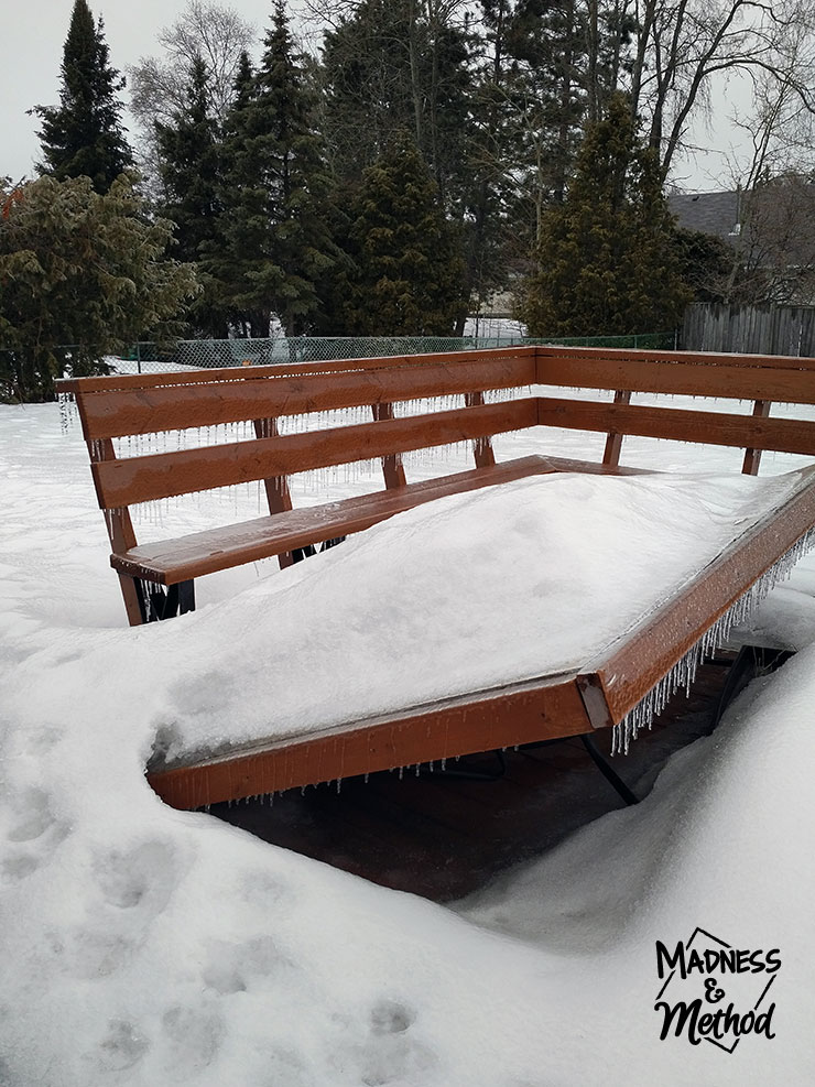 This table needs to be fixed (and check out the freezing rain icicles!)