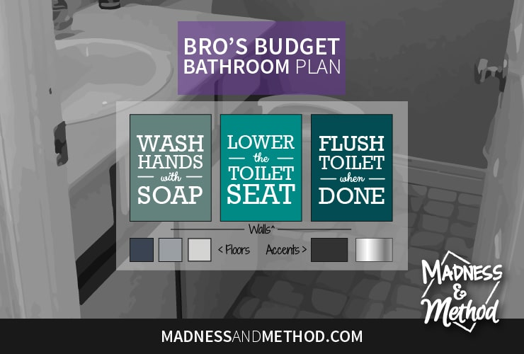 Welcome to my bro's budget bathroom project, a boring, outdated and beige space that I am tackling for the Spring One Room Challenge!