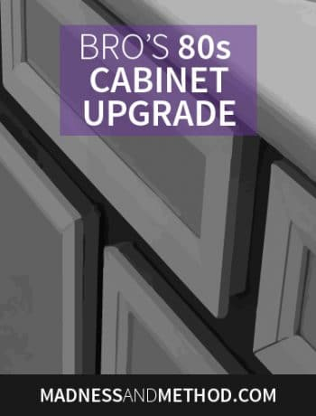 Check out this amazing DIY 80s cabinet upgrade! What if you love the layout of your kitchen or bathroom, but not the style? My brother's bathroom vanity was a decent size, but it definitely needed to be updated...