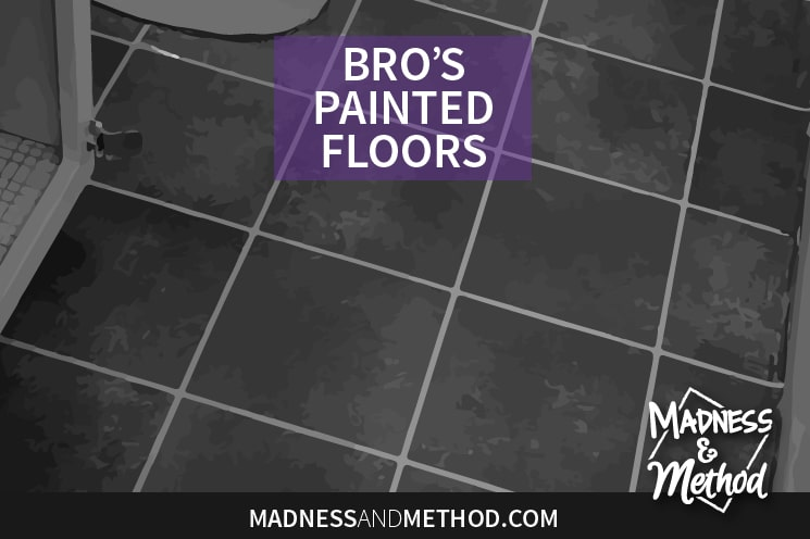 These floors look so much better than before! Read my tips on doing DIY painted floors as part of my bro's budget bathroom renovation.