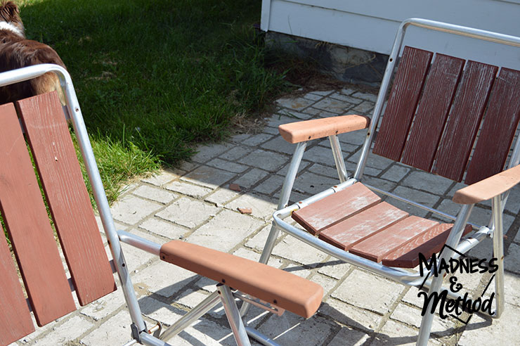 Antique patio furniture with worn wood