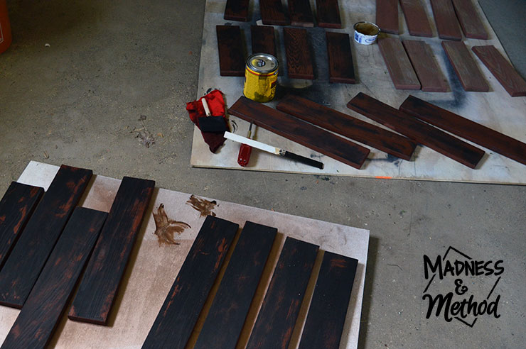 Staining wooden patio furniture slats