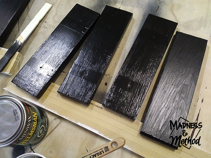 Painting wooden slats black and adding a topcoat