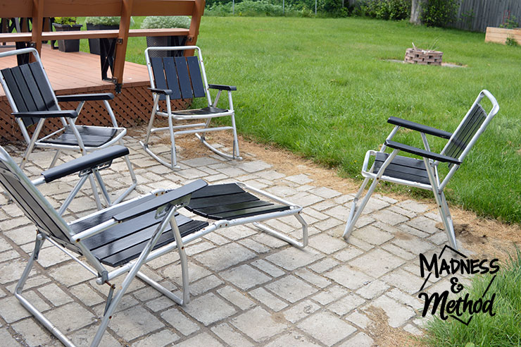 Antique patio furniture on concrete patio