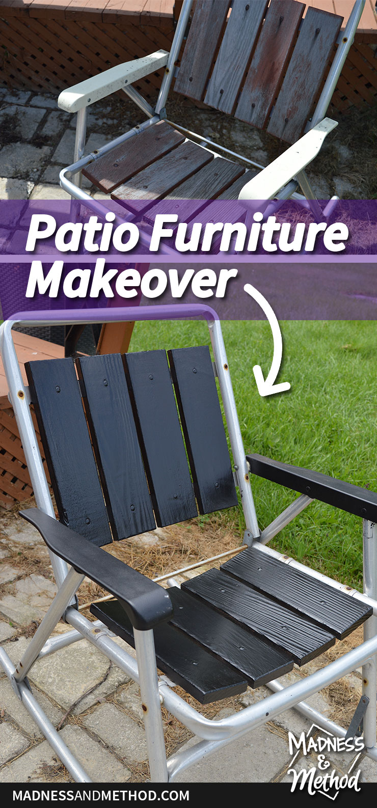 Patio furniture makeover before and after