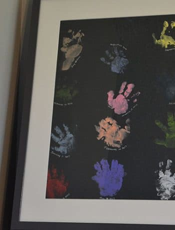 Baby handprint art on a shelf
