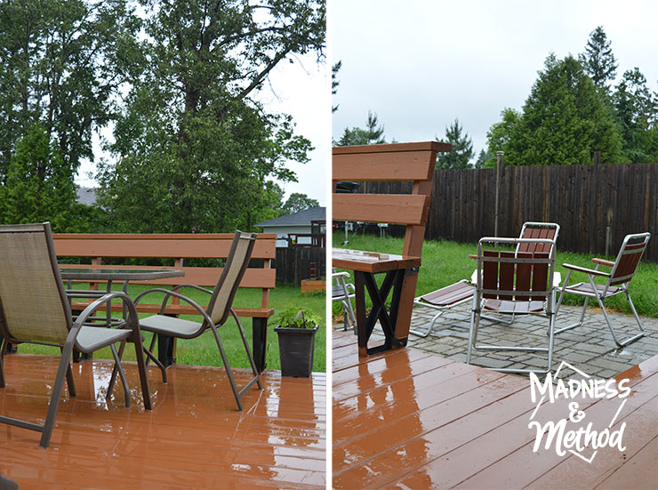 Split image of deck on a rainy day with patio furniture