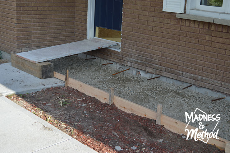 Concrete front porch wooden forms and rebar