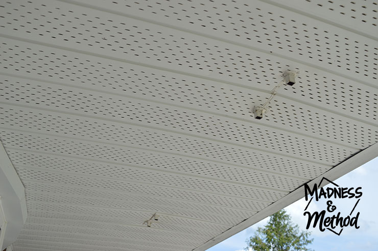 Front porch soffit with old beams