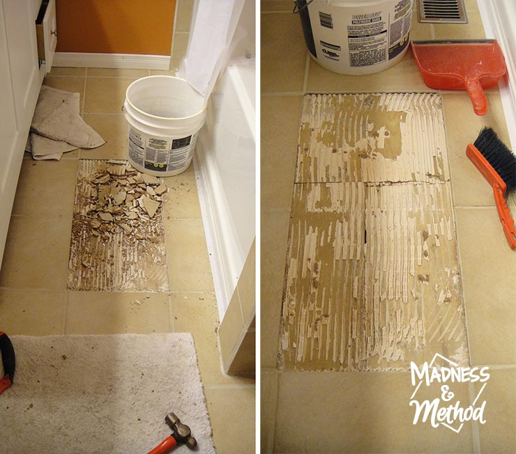 replace cracked tile and cleaning the tile mess