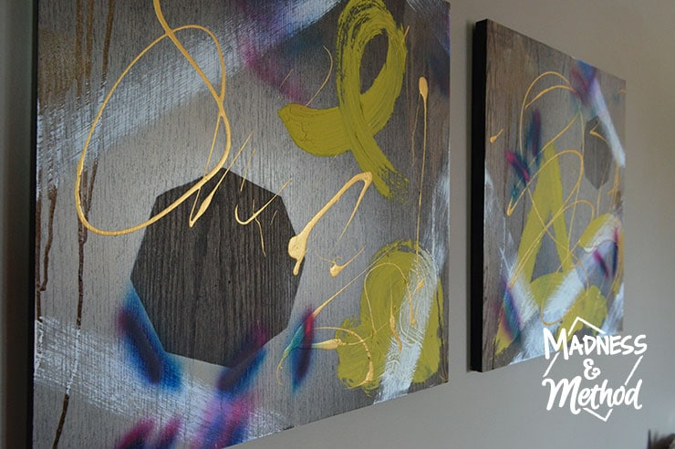 Abstract art on wood canvas