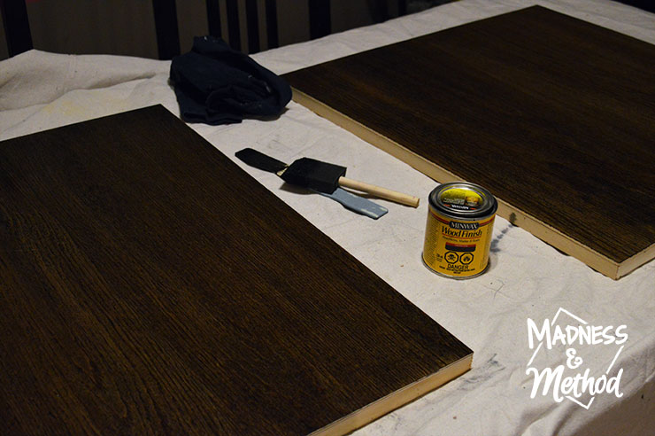 Staining wood canvas for artwork