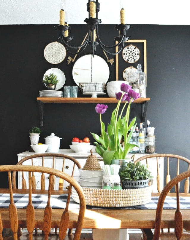 black dining room from My Fabuless Life