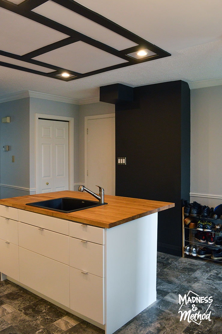 white budget kitchen reveal with black accents