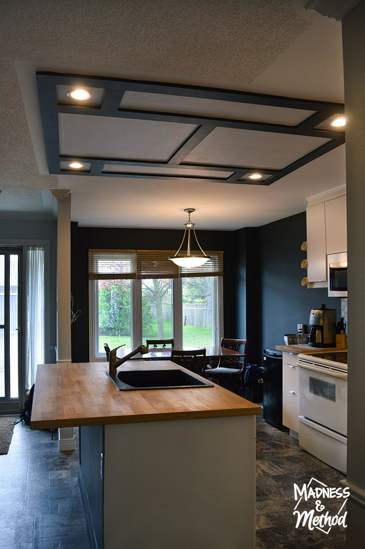 open concept black and white budget kitchen reveal