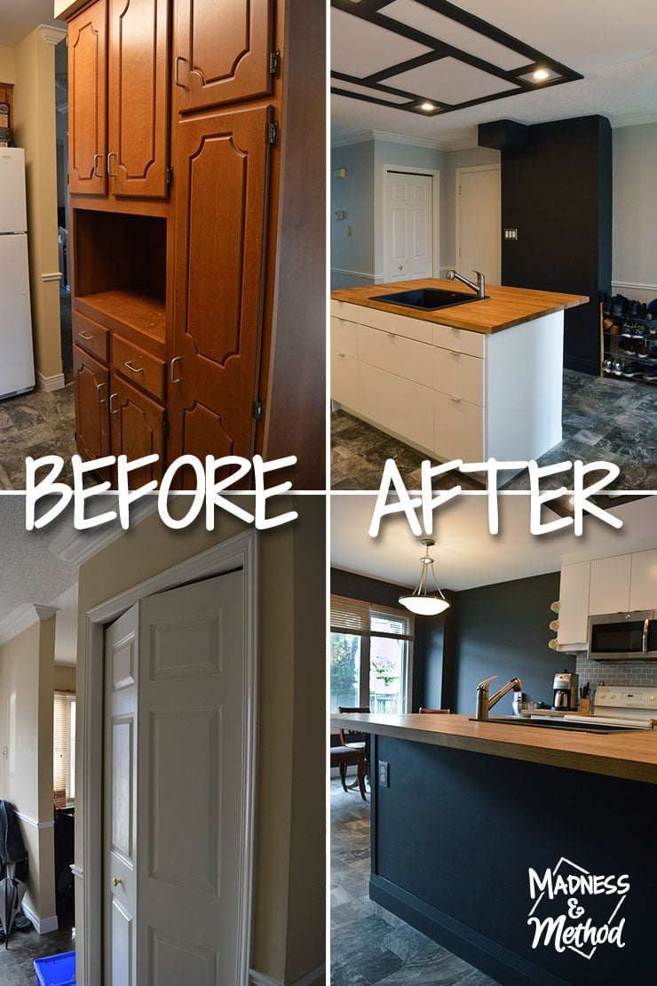 white and black budget kitchen reveal before after