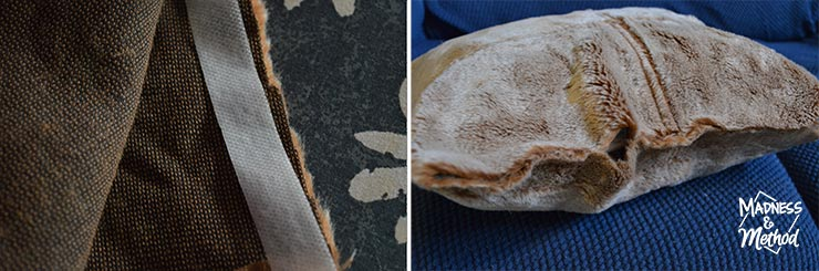 gaps in fabric on faux fur pillows