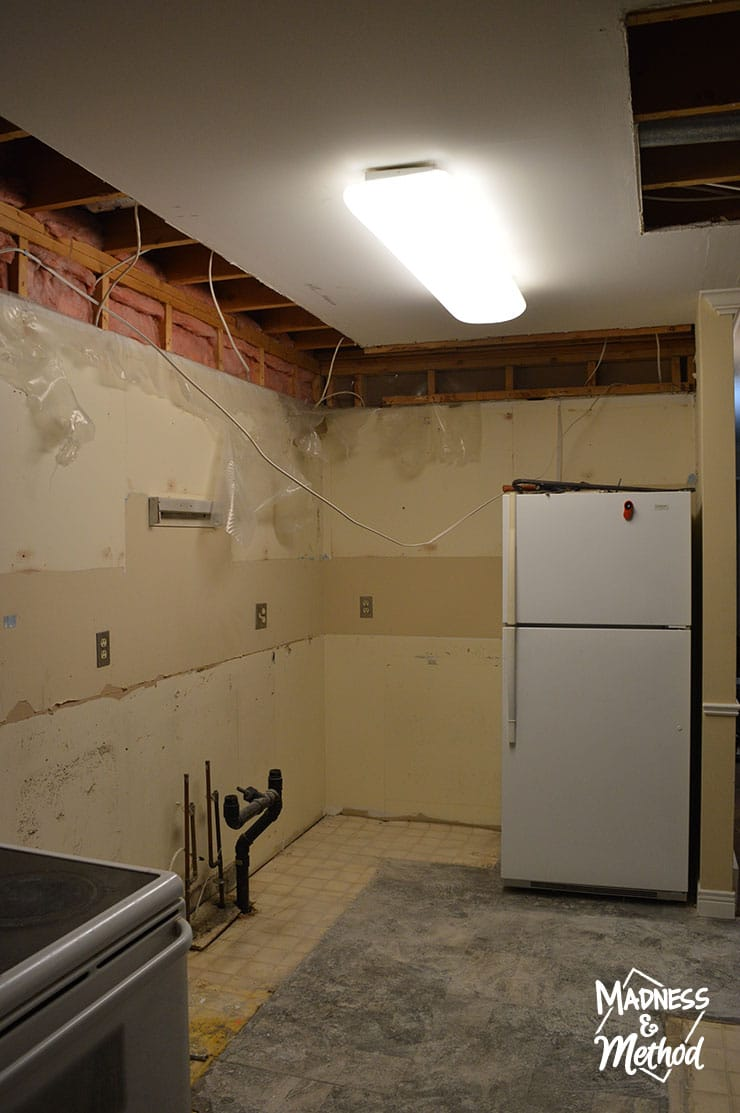 kitchen renovation progress after demolition