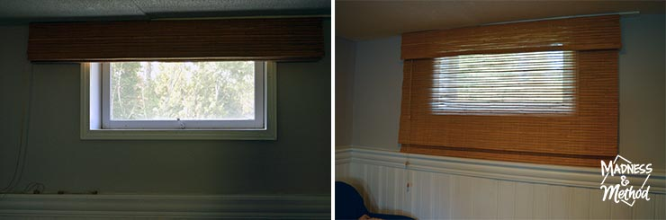small window blinds hung outside window basement bamboo blind on small window basement bamboo blinds diy hack madness method