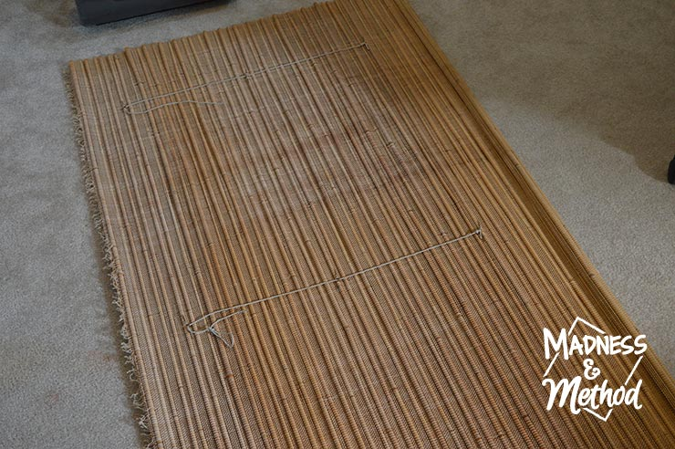 cut piece of bamboo blind