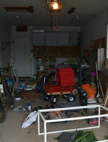 messy garage before makeover