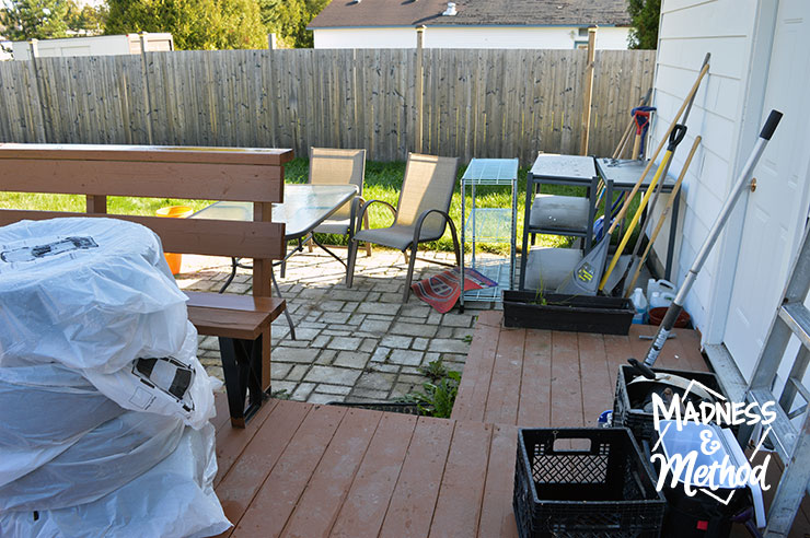 stuff from garage on back porch