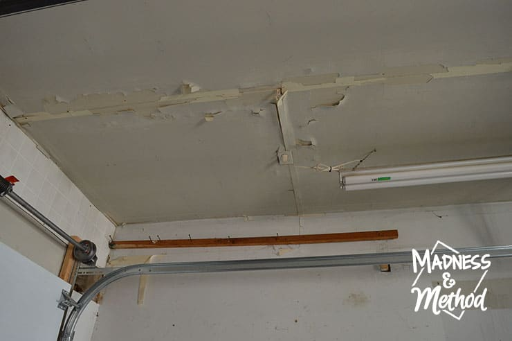 peeling ceiling in garage