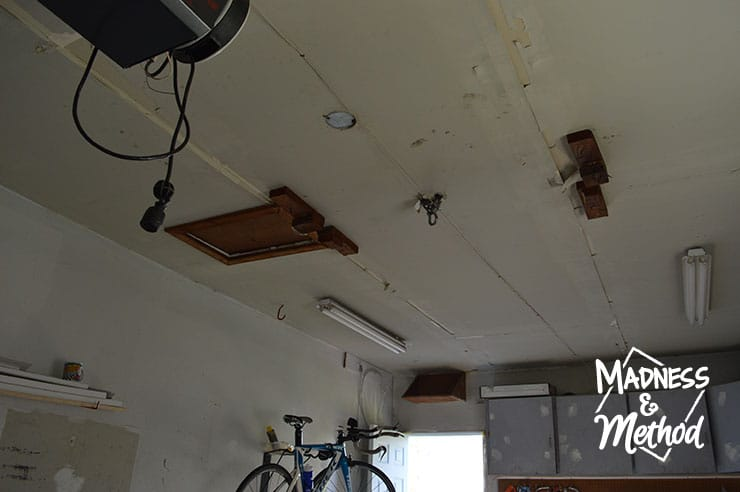 ceiling in empty garage