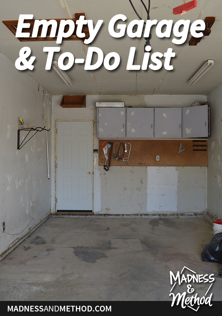 our empty garage and to-do list graphic