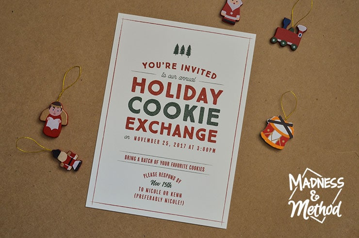 holiday party cookie exchange card