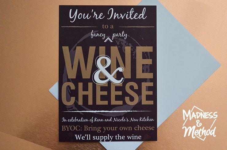 wine and cheese holiday party card