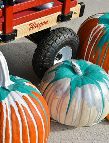 paint-drip pumpkin decor