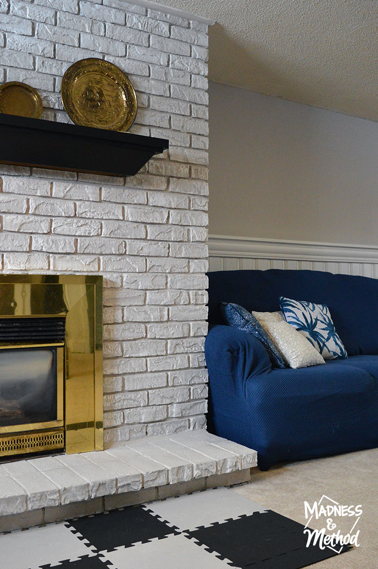 gray white and blue basement family room