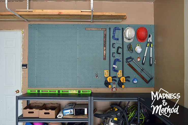 garage makeover reveal new pegboard